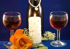 Wine Candlight And Rose Stock Photos