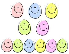 Free Cartoon Happy Face Easter Eggs Royalty Free Stock Photography - 4026147