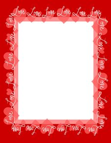 Free Red Love Hearts Frame Border Stock Photos - 4026183