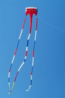 Red, White And Blue Kite Stock Photo