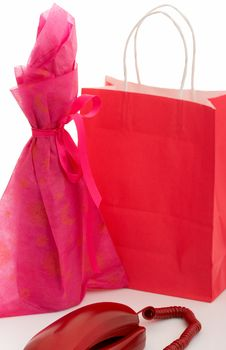 Telephone And Shopping Bag Royalty Free Stock Photography