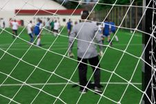 Free Soccer Goalkeeper Looking On Players Royalty Free Stock Photography - 4028137