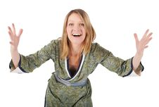 Free Blonde Woman In A Kimono Is Smiling Royalty Free Stock Photography - 40260677