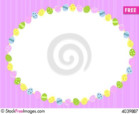 Oval Easter Eggs Background Frame Cartoon Illustration