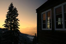 Free Quiet Sunset In The Alps Royalty Free Stock Photos - 4030468