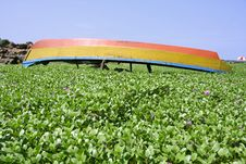 Boat Lying Upside Down In Garden Stock Images