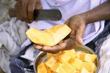 Vendor Preparing Fruit Salad Stock Photography