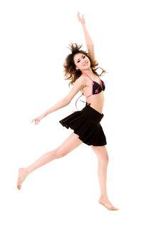 Happy Cheerleader Jump Royalty Free Stock Image