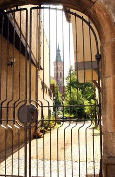 Free Church Viewed Thru Gate Royalty Free Stock Photos - 4032358