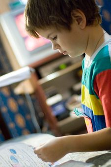 Boy With The Book Stock Photography