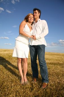 Free Couple Stand On Meadow Stock Photos - 4034783