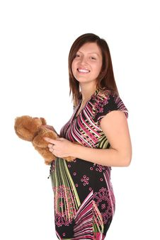 Pregnant Woman With Teddy Bear Royalty Free Stock Photography
