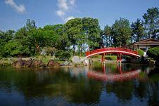 Free Bridge, Lake And Tree In The Park Stock Photo - 4035280