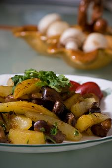 Free Fried Potatoes With Mushrooms Royalty Free Stock Photos - 4037508