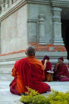 Free Buddhistic Monk Near Mahabodhi Temple Stock Image - 4037571