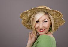 Free Blonde Straw Hat Smiling Royalty Free Stock Photos - 4039098