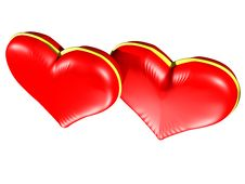 Free Two Red Hearts With Gold Edging Royalty Free Stock Images - 4042839