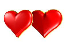 Free Two Red Hearts With Gold Edging Royalty Free Stock Photo - 4042855