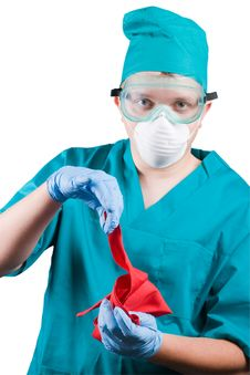 Free Surgeon  With Red Rag Royalty Free Stock Images - 4044969