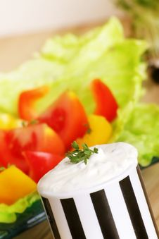 Fresh Salad And Cream Cheese Stock Images