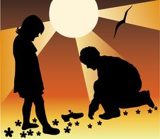 Boy Helps The Girl, Shoes A Silhouette Royalty Free Stock Photos