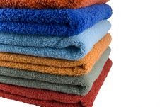 Stack Of Coloured Towels Royalty Free Stock Photography
