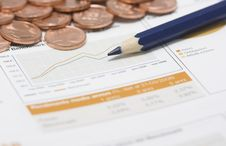 Free Coins, Pencil And Stock Market Graph Royalty Free Stock Image - 4048776