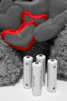 Free Toy Hearts And Batteries Stock Photography - 4049322