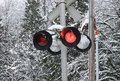 Free Warning Light In Snow Stock Image - 4054111