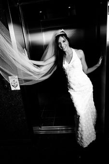Free Bride Standing In Elevator Door Royalty Free Stock Image - 4050196