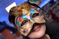 Free Woman In Carnival Mask Royalty Free Stock Photos - 4051228