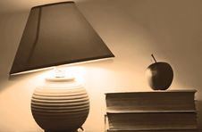 Free Lamp And Books Stock Image - 4052081
