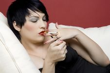 Free Woman Smoking Royalty Free Stock Image - 4052286