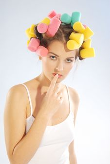 Free Woman In Hair Curlers Stock Photography - 4054012