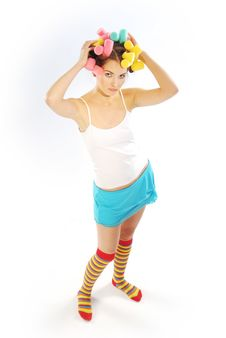 Free Woman In Hair Curlers Stock Photos - 4054053