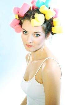Free Woman In Hair Curlers Royalty Free Stock Image - 4054116