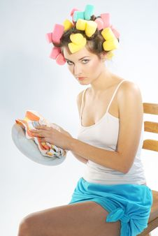 Woman Drying Up Plate Stock Photography