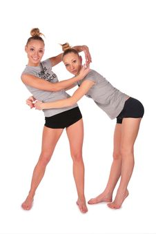 Free Twin Sport Girls Encirlce Each Other Stock Photos - 4056653