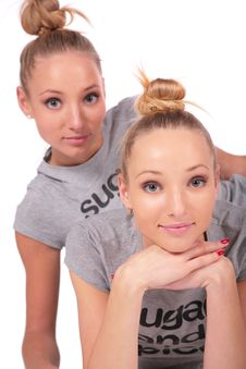 Free Twin Sport Girls Posing Royalty Free Stock Photos - 4056678