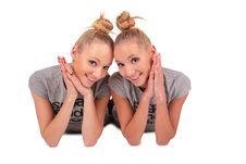 Free Twin Sport Girls Lying 3 Stock Image - 4056681