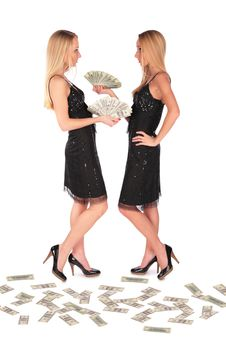 Free Twin Girls Holding Dollars Stock Photos - 4056693