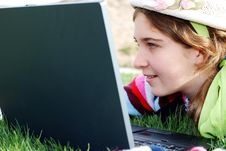 Free Young Girl And Laptop Stock Photos - 4057313
