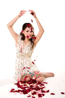 Free Young Girl Tossing Rose Petal Royalty Free Stock Photo - 4059215