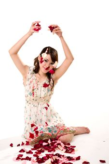Free Young Girl Tossing Rose Petal Stock Photos - 4059223