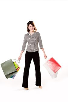 Free Happy Girl With Paper Bags Stock Photography - 4059272