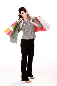Free Happy Girl With Paper Bags Royalty Free Stock Photography - 4059307