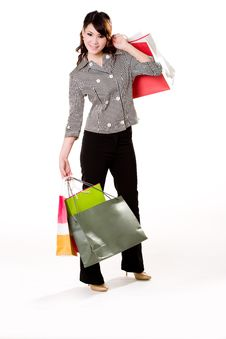 Free Happy Girl With Paper Bags Royalty Free Stock Photography - 4059317