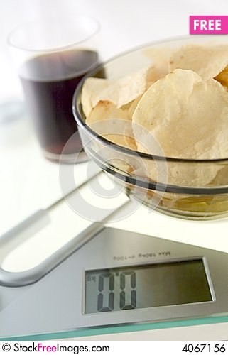 Free Diet Chips And Coke Royalty Free Stock Image - 4067156