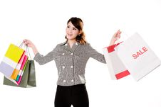 Free Happy Girl With Paper Bags Royalty Free Stock Photography - 4060227