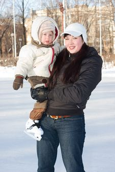 Free Mother And Child On The Rink Stock Image - 4062401